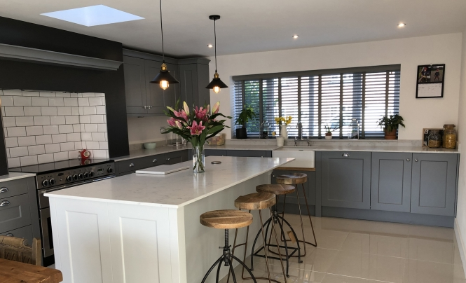 Mill Town Florence Light Grey & Dust Grey Kitchen for a home in Wimslow, Manchester