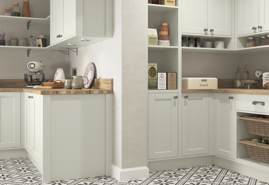 Classic Traditional Country Dawson Porcelain & Cashmere Kitchen Pantry