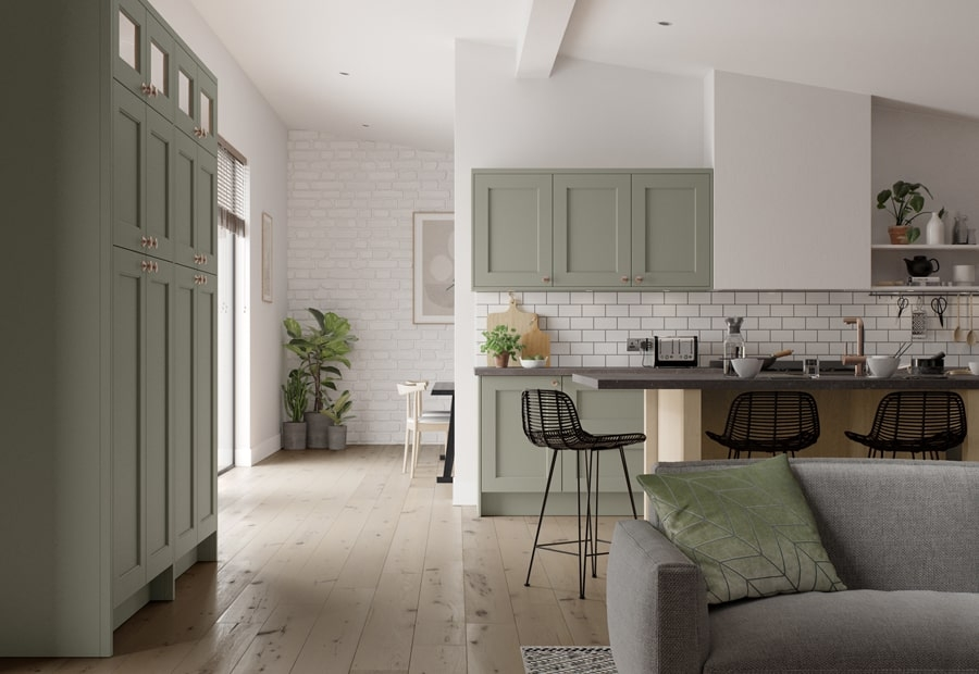Traditional Wakefield Kitchen Painted Cardamom with Light Oak