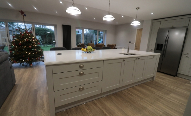 Georgia Painted Light Grey Kitchen Island by Purple Kitchens for a home in Liverpool