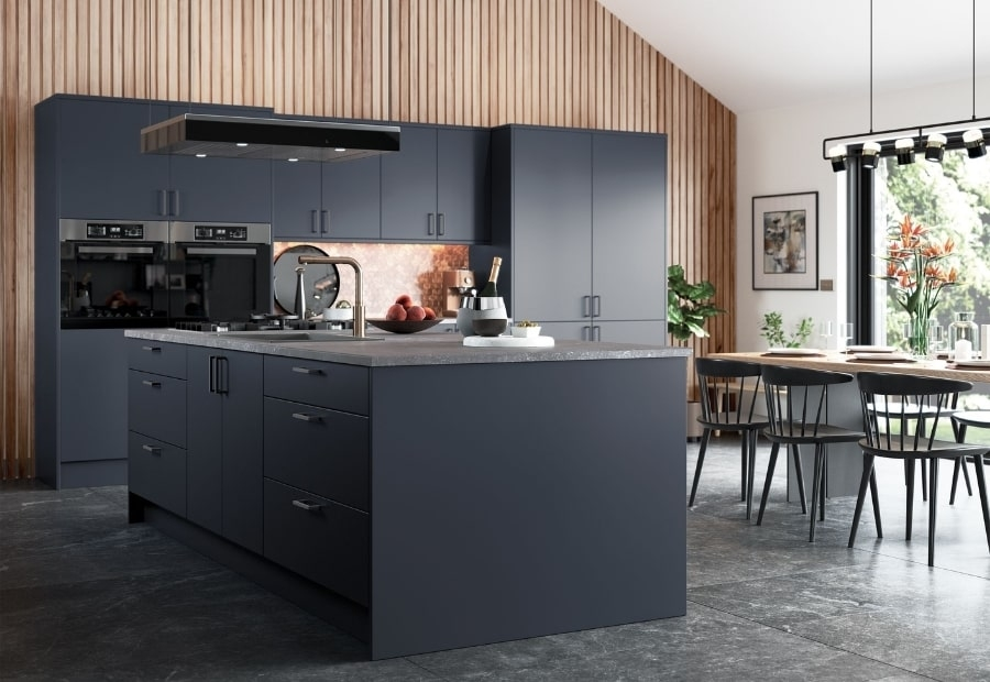 Kitchen Stori Zola Matte Slate Blue Open Plan