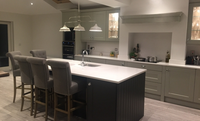 QK Living Georgia Painted Stone & Graphite Kitchen for Mr & Mrs Murphy of Templeogue