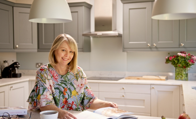 Competition Winner, Carole Hill, Pictured in her new Kitchen, Wakefield Painted Kitchen From the Kitchen Stori Range