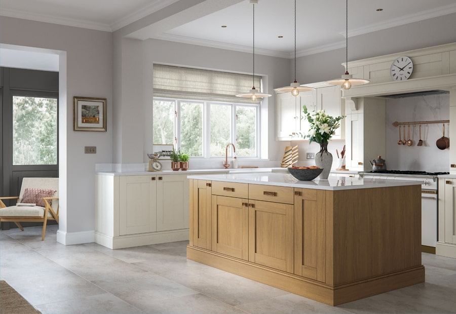 Classic Traditional Madison Kitchen Light Oak & Ivory Island