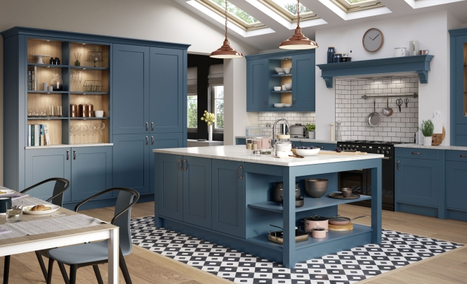 Classic Modern Smooth Painted Georgia Kitchen in Airforce
