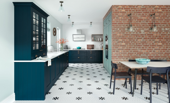Classic Modern Madison Shaker Kitchen in Marine & Light Teal