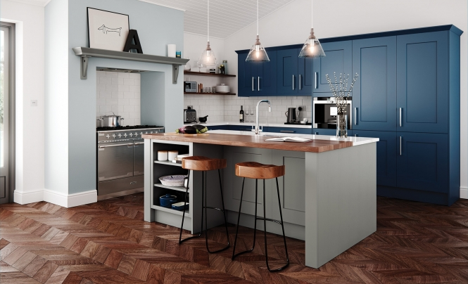 Classic Traditional Clonmel Shaker Kitchen in Painted Stone & Parisian Blue