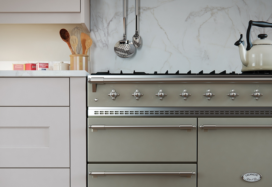Classic Florence Painted Stone Kitchen Cabinets with Light Grey