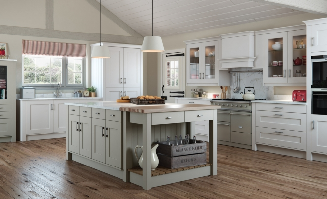 Classic Traditional Florence Shaker Style Kitchen in Painted Stone & Light Grey