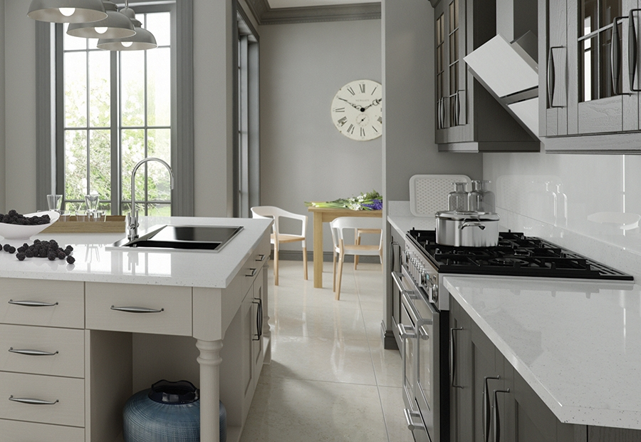 Modern Contemporary Madison Kitchen in Painted Lava and Light Grey