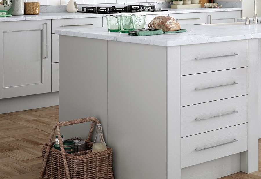 Classic Modern Wakefield Painted Light Grey Kitchen Island Unit