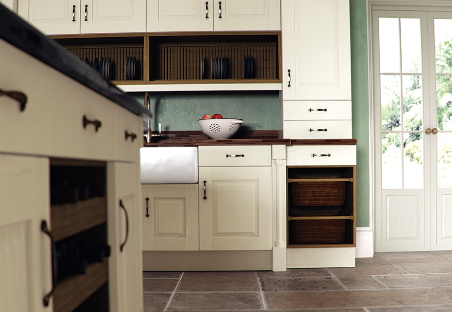 Classic Traditional Country Windsor Painted Ivory Kitchen Featuring a Plate Rack