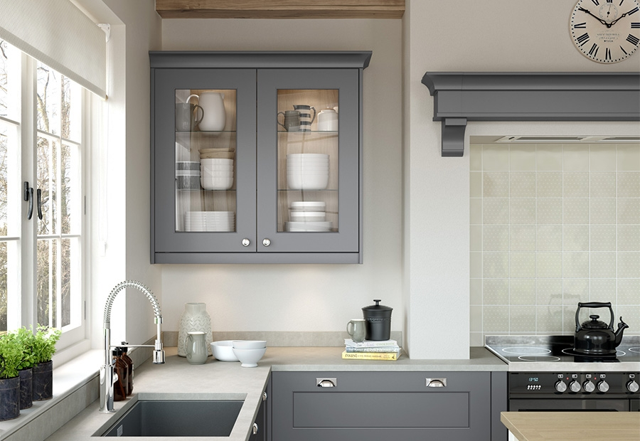 Florence Smooth Painted Dust Grey Glazed Wall Units
