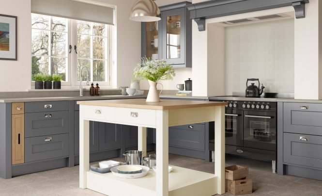 Florence Smooth Painted Kitchen in Dust Grey & Porcelain