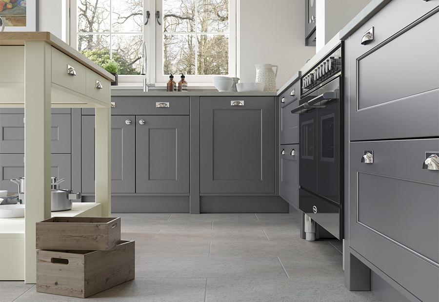 Florence Smooth Painted Shaker Kitchen Featuring Porcelain Island Unit & Dust Grey Floor Units