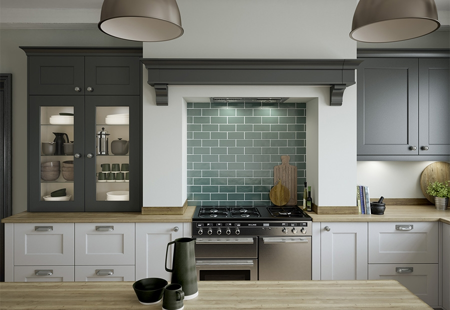 Florence Painted Graphite & Light Grey Featuring Overmantle & Glazed Frames