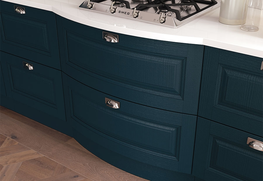 Jefferson painted bow front drawers in Marine