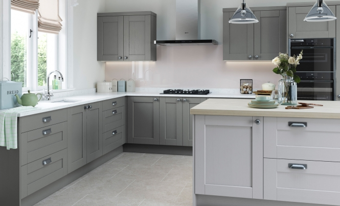 Shaker Kitchen Doors Kensington Light Grey Uform - Light grey shaker cabinets