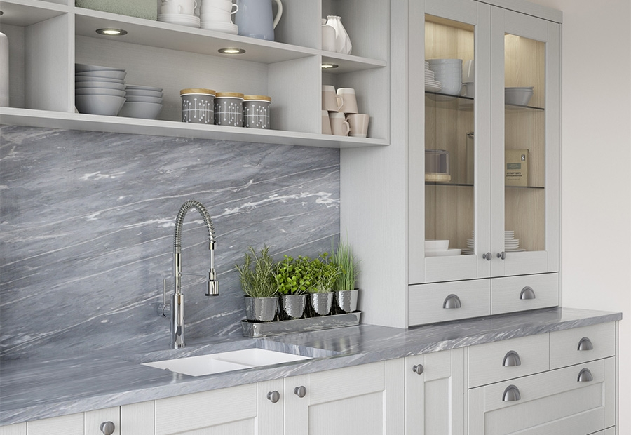 Kensington Light Grey Shaker Kitchen Featuring Glazed Frames & Open Shelving