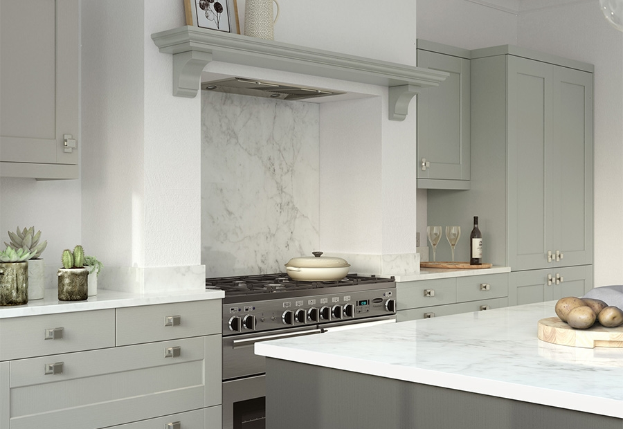 Kensington Shaker Kitchen Featuring a Classic Overmantle Shelf