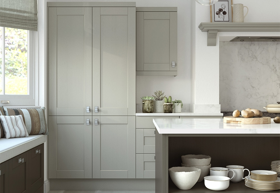Kensington Shaker Kitchen Featuring Open Shelving in the Island Unit