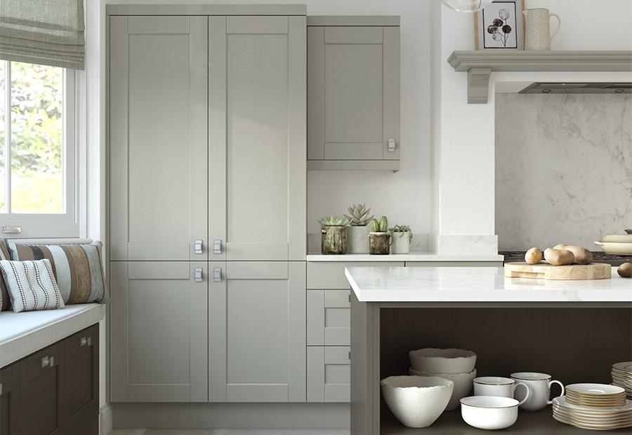 Kensington Shaker Kitchen Featuring Open Shelving in the Island Unit & Shaker Kitchen doors - Kensington Lava u0026 Mussel | Uform
