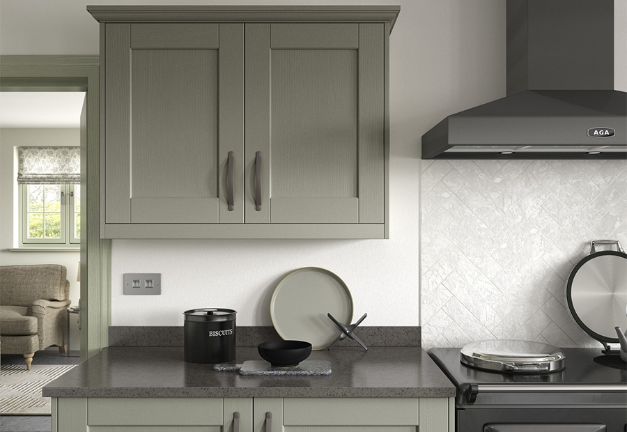 kensington shaker kitchen wall units in painted green - Sage Kitchen