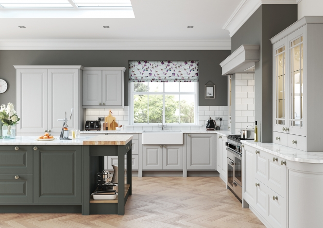 Classic Jefferson Painted Kitchen in Light Grey & Gun Metal Grey