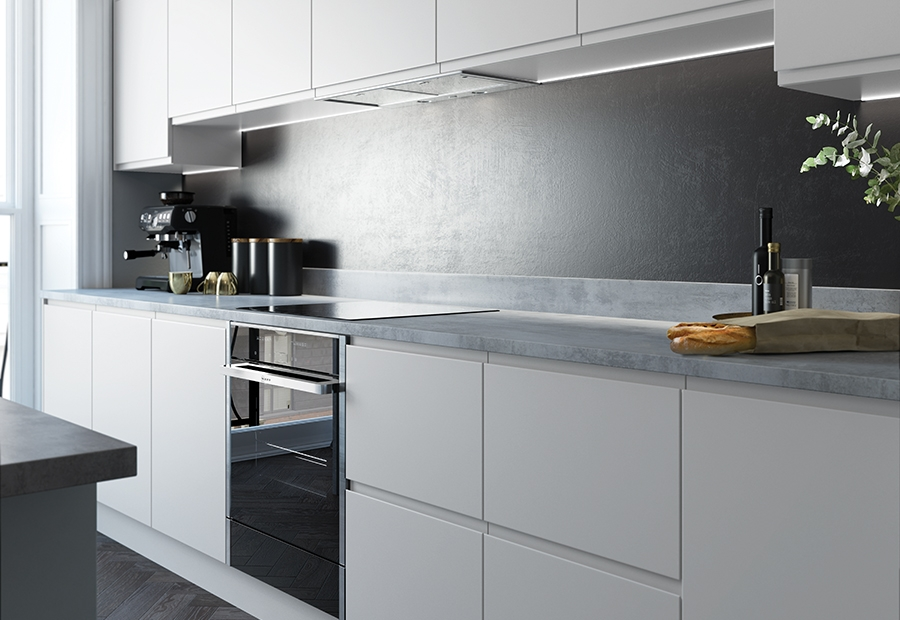 Handless Kitchen Doors Strada Matte Uform - Matte grey kitchen