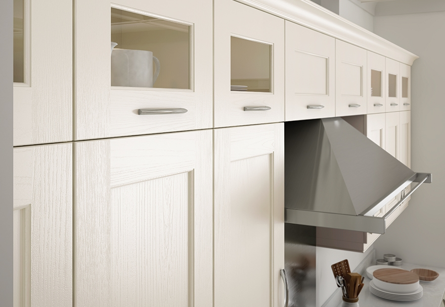 Contemporary Wakefield Painted Ivory Kitchen With Glazed Wall Units