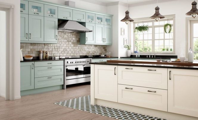 Contemporary Wakefield Painted Kitchen in Powder Blue & Ivory