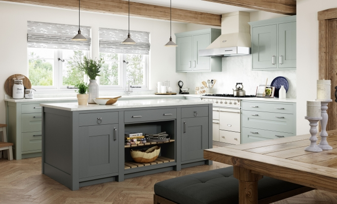 Country Classic Traditional Clonmel Kitchen in Painted Light Blue & Gun Metal Grey
