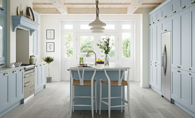 Country Classic Traditional Georgia Smooth Painted Kitchen in Pantry Blue