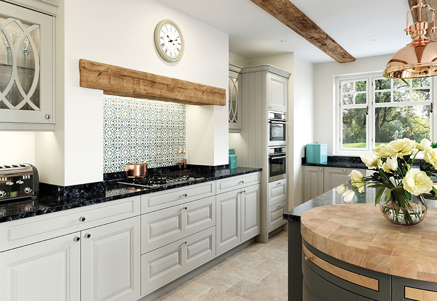 Jefferson Kitchen Featuring Large Oak Mantle