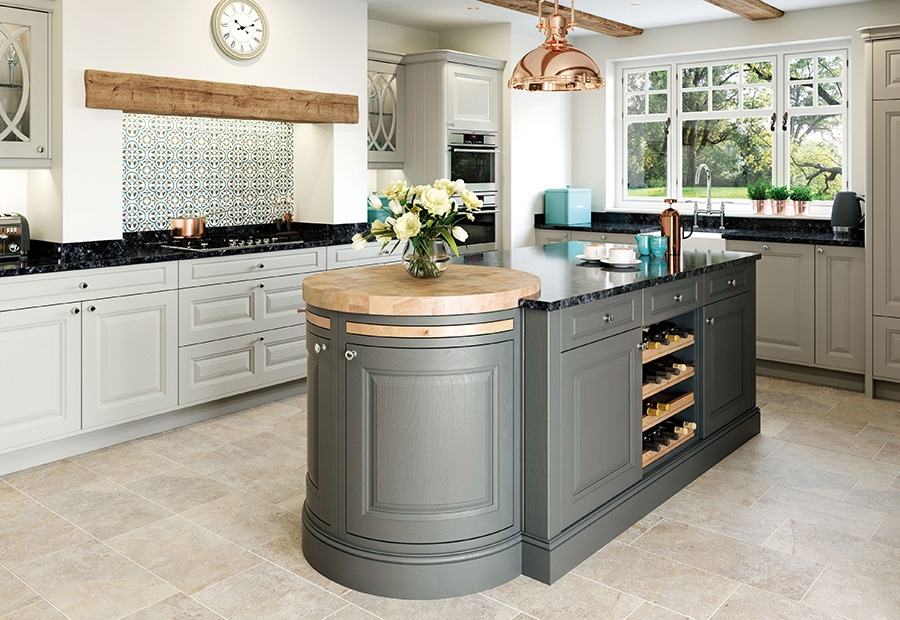 Jefferson Kitchen Featuring Large Island Unit in Gun Metal Grey