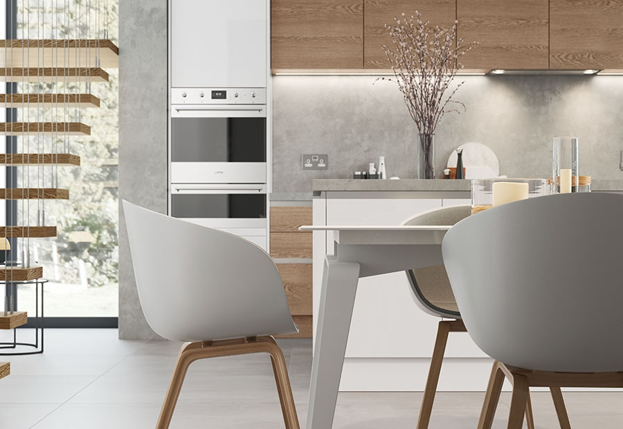 Zola Gloss White Handleless Kitchen With Integrated Appliances & Tavola Parched Oak Doors