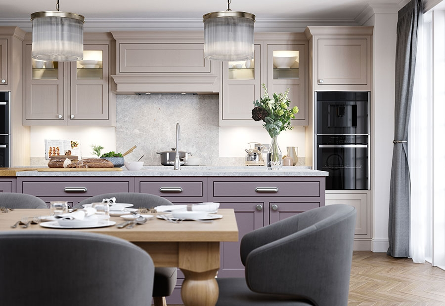 Belgravia Inframe Kitchen In Lavendar Grey & Cashmere