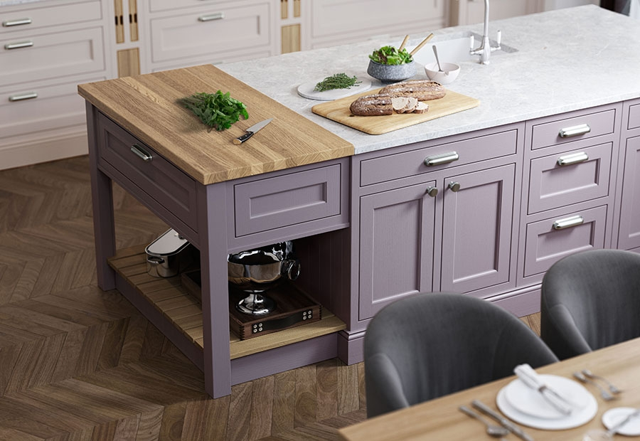 Belgravia Kitchen Island Unit In Painted Lavendar Grey