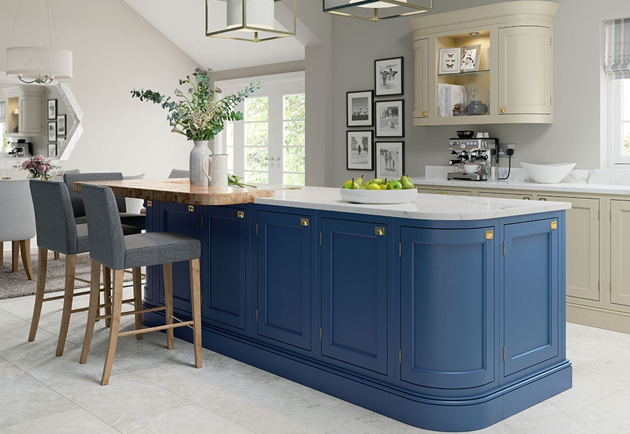 Belgravia Inframe Kitchen Featuring Large Island Unit in Parisian Blue