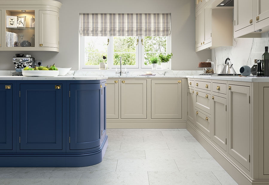 Belgravia Inframe Kitchen in Stone & Parisian Blue