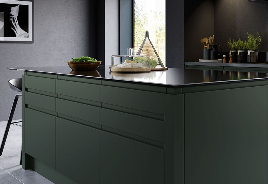 Strada Matte Kitchen Island Unit in Deep Forest