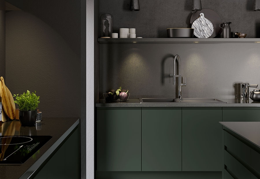 Strada Matte Kitchen Featuring Open Shelving