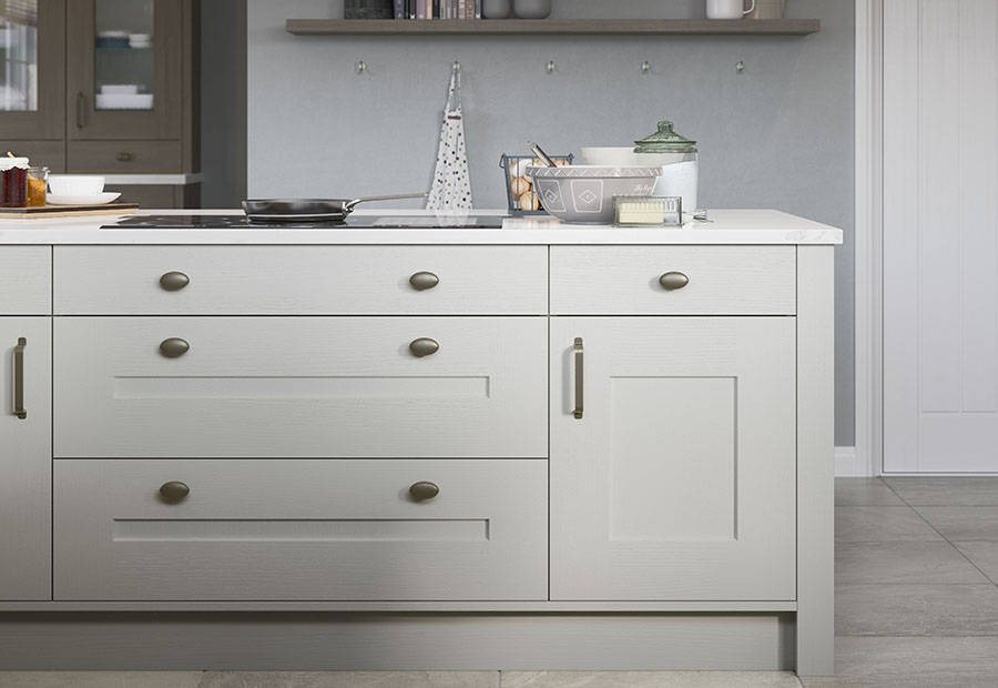 Clonmel Painted Shaker Kitchen Island Unit in Light Grey