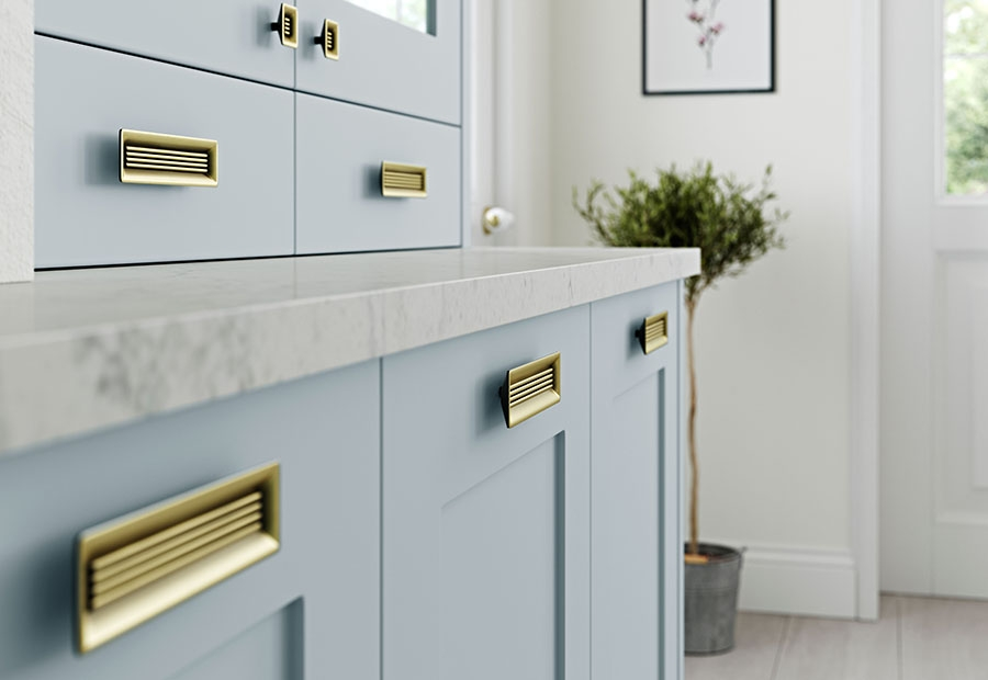 Georgia Shaker Kitchen In Pantry Blue Featuring Rustic Handles