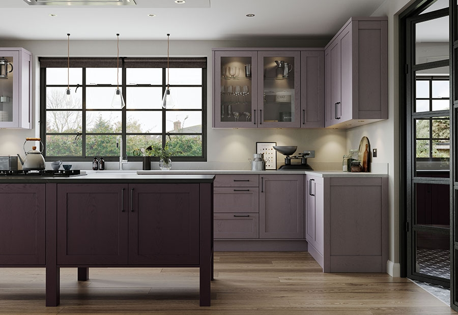 Aldana Shaker Kitchen Featuring Freestanding Island Unit