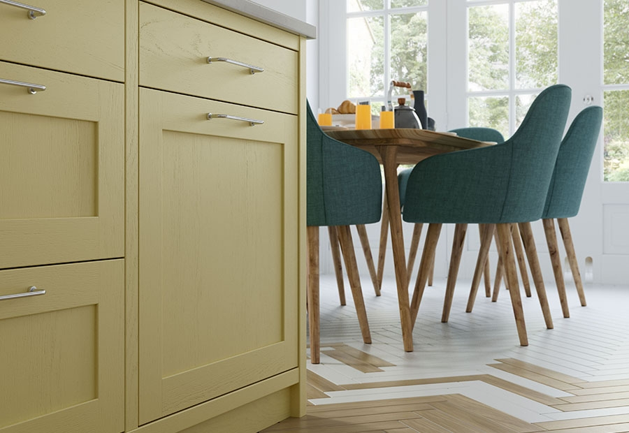 Aldana Shaker Kitchen in Painted Pale Yellow