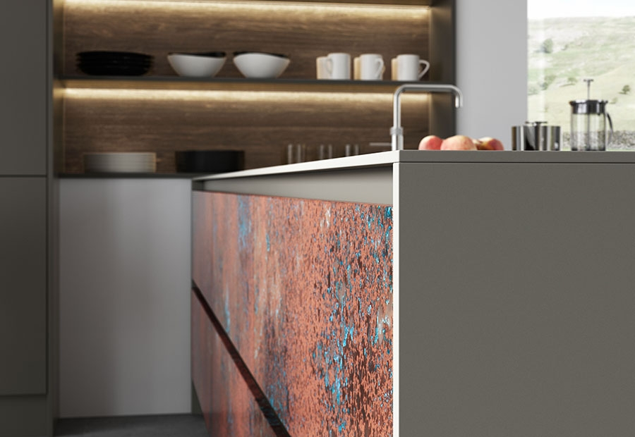 Ferro Handleless Drawers in Oxidised Copper