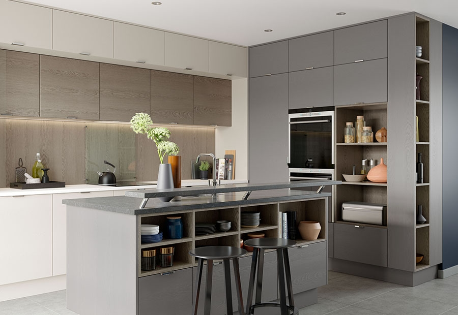 Tavola Modern Slab Style Kitchen Featuring Breakfast Bar