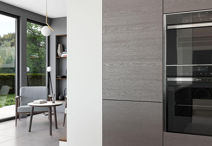 Tavola Kitchen In Stained Anthracite Feauturing Integrated Appliances