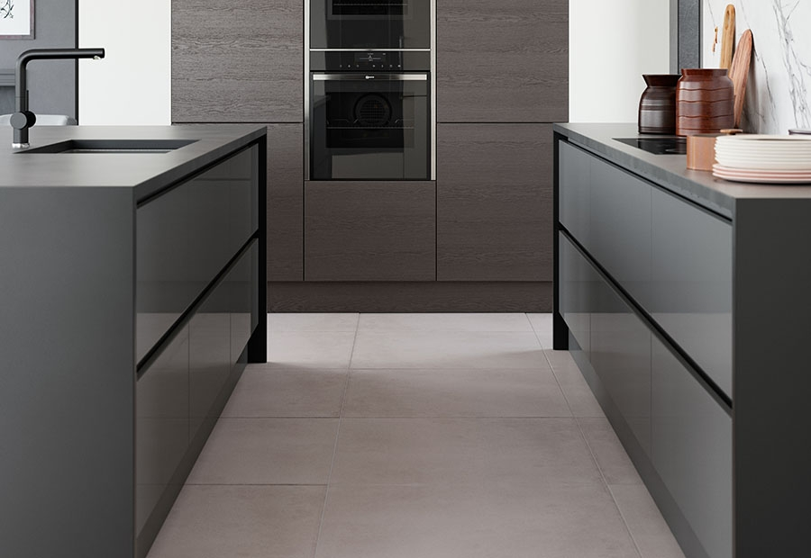 Zola Gloss Dust Grey Handleless Drawers with Tavola Stained Anthracite Units